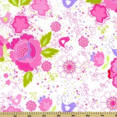 Oriental Floral Flannel Cotton Fabric - White