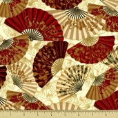 Oriental Traditions 10 Fans Cotton Fabric - Cream Metallic AOVM-13035-91