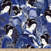 Oriental Traditions 11 Geisha Cotton Fabric - Indigo