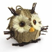 Ornament Natural Owl - 4 inch