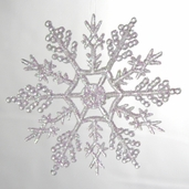 Ornament Plastic Snowflake - 12 pc Set