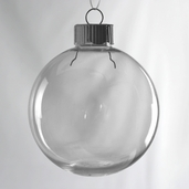 Ornament  Round Plastic - 12pc Set - Clear