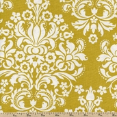 Out Front Prints Damask Cotton Fabric - Gold 3228038