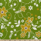 Out Front Prints Floral Cotton Fabric - Green O-FRONT-5033