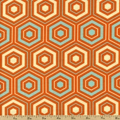Out Front Prints Hexagon Cotton Fabric - Orange O-FRONT-5020 - CLEARANCE