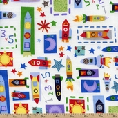 Out of This World Rockets Cotton Fabric - White OUTW-00184-W