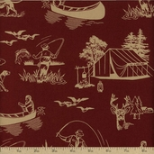 Outdoor Life Cotton Fabric - Maroon 35479-4