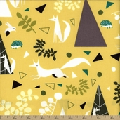 Outfoxed Nature Toss Cotton Fabric - Yellow - CLEARANCE