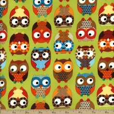 Owl Cotton Fabric - Lime OWL-C8366-LIME