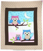 Owl Tree Flannel Fabric - Panel Pink CP43641