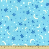 Owl Tree Stars and Moon Toss Flannel Fabric - Aqua CP43643
