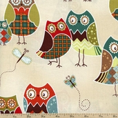 Owl Wonderful Packed Owls Cotton Fabric - Cream 1430-28625-184S