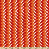 Owl Wonderful Zig Zag Cotton Fabric - Orange 1430-28628-381S