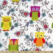 Owlivia Owl Vines Cotton Fabric - White 02241-09