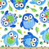 Owls Flannel Cotton Fabric White
