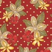Pacific Tradewinds Lead Floral Cotton Fabric - Red - Clearance