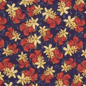 Pacific Tradewinds Medium Floral Cotton Fabric - Navy - CLEARANCE
