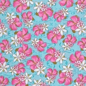 Pacific Tradewinds Medium Floral Cotton Fabric - Turquoise