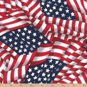 Packed Flags Cotton Fabric - Red