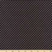 Packed White Dots Cotton Fabric - Black