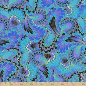 Palazzo Abstract Endpaper Metallic Cotton Fabric - Peacock