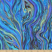 Palazzo Abstract Marbling Metallic Cotton Fabric - Peacock