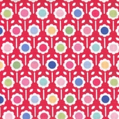 Pam Kitty Cotton Fabric - Red