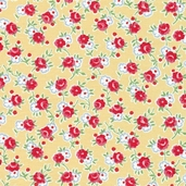 Pam Kitty Cotton Fabric - Rose and Posie Vine Yellow