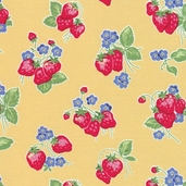Pam Kitty Cotton Fabric - Strawberries Yellow