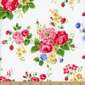 Pam Kitty Floral Cotton Fabric - White LH11002 WOW