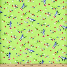 Pam Kitty Garden Birdies Cotton Fabric - Lettuce