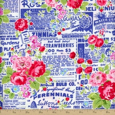 Pam Kitty Garden Newspaper Floral Cotton Fabric - Navy