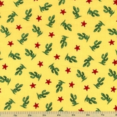 Paper Doll Cowboy Cacti Cotton Fabric - Yellow - CLEARANCE