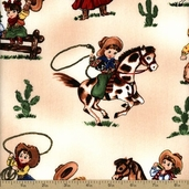 Paper Doll Cowboy Cotton Fabric - Cream #33238