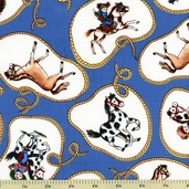 Paper Doll Cowboy Laso Cotton Fabric - Blue