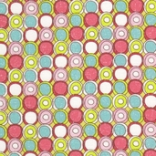 Paper Dolls Circle Dots Cotton Fabric - Green