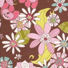 Paper Dolls Summer Garden Cotton Fabric - Brown - CLEARANCE