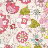 Paper Dolls Summer Garden Cotton Fabric - Cream