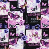 Papillon Jolie Collage Cotton Fabric - Black