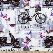 Papillon Ooh La La Cotton Fabric - White