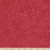 Papillon Tonal Floral Cotton Fabric - Scarlet