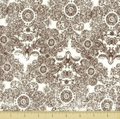 Paris and Company Cotton Fabric - Brown - Damask