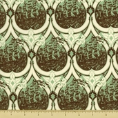 Parisville Cotton Fabric - Modern Damask - Green