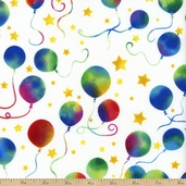 Party On Balloon Cotton Fabric - White