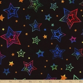 Party On Stars Cotton Fabric - Black