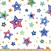 Party On Stars Cotton Fabric - White