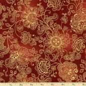 Pashmina Bronze Shimmer Cotton Fabric - Red CM1144-RED