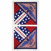 Patriotic Eagle Panel Cotton Fabric - Red