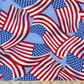 Patriotic Flag Toss Cotton Fabric - USA