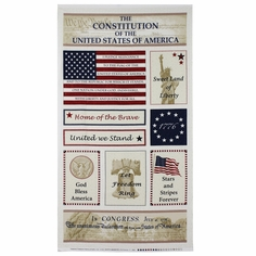 Patriotic Panel Cotton Fabric - Natural